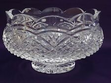 """Signed Heavy WATERFORD CUT CRYSTAL SCALLOPED FOOTED BOWL 7-1/4"""" - PERFECT"""