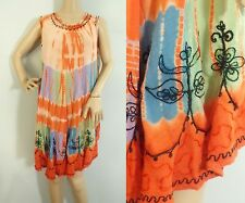 Vintage 90s Dress Tie Dye & Embroidered Summer Boho Free Style Flowy Peasant