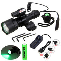 350 Yards Green LED Hunting Light Airsoft Flashlight Red Laser Sight Gun Mount