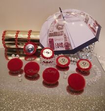 Set 8 Velvet Fabric Covered Buttons Red ENGLAND Metal silver size 25mm
