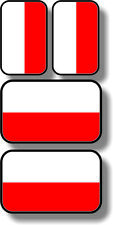 Vinyl sticker/decal Extra small 45mm & 35mm Poland  flags - group of 4