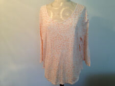 Chico's Ultimate Tee White Peach 100% Cotton Womens 3/4 Sleeve Top Size 3