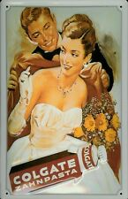Blechschild Colgate Zahnpasta Dame Abendkleid Frau im Ballkleid Schild retro