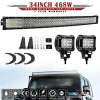 """3 ROW 34INCH 468W CURVED LED LIGHT BAR COMBO DRIVING OFFROAD TRUCK SUV 32"""""""