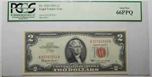 1963 $2 LEGAL TENDER NOTE PCGS 66PPQ GEM NEW Fr#1513 ~ S/N A01781552A - 2EC