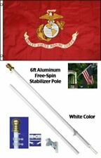 NEW 3'x5' MARINE Polyester Flag w/ 6' Aluminum Tangle Free Spinner Pole Kit