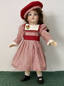 Bleuette: Candy Cane Silk Stripe Dress With Cherry Red Wool Hat To Match