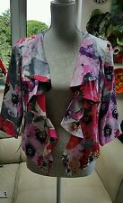 "ALEXON "" GARDEN PARTY "" PINK FLORAL JACKET NEW £99. SIZE 10 36"" WATERFALL FRONT"