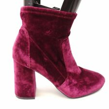 New Abound Womens Izzie Burgundy Red Velvet Pull-On Block Heel Boots Size 7.5