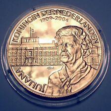 JULIANA QUEEN OF THE NETHERLANDS 1909-2004 BU Proof Medal 39mm 25g 24 Carat Gol.