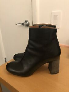 CHLOE Black Calf Leather Booties Block Heel Women Boots 37.5  7.5