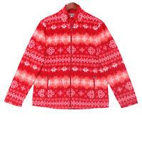 Talbots Women's Red Full Zip Snowflake Fleece Jacket - Size Large Petite LP