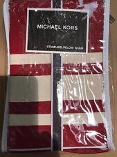 NIP Michael Kors Pillow Sham Five Star Red White Standard $120 Cotton NEW!