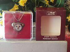 STEIFF  Teddy Pendant Watch, EAN# 606564, Grey, NEW, Mint w/Steiff box