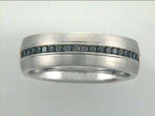 Gent's Black Diamond Ring 14k White Gold w/0.92ct Diamonds (7mm wide)