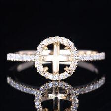 Fine Jewelry 6mm Round Semi Mount Setting Diamonds Ring Solid 10K Yellow Gold