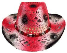 Cow Boy - Cow Girl -  Rodeo- Western Straw Hats Red Color   (CowBg21 ^)