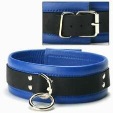 Blue Black Leather Wrist Cuffs &Collar Set~Bondage Goth