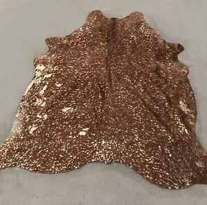 NEW Brown & Gold Metallic Cowhide Rug Brazilian Hair On Hide 5 ft x 6 ft