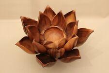 Magnifique fleur nénuphar tournant en teck formée de coupelles apéritif design