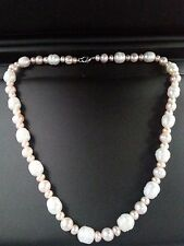 NATURAL White & Pink Baroque Freshwater Pearl Strand Necklace 18''