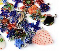 10 Millefiori Anhänger Glas für Halskette Charm Mischung Bunt Schmuck Set R50