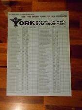 YORK BARBELL COMPANY Gym Equipment products ORIGINAL Order Form (4 pages) 1-75