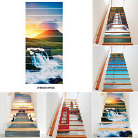12 Pc Self Adhesive 3D Entrance Stair-Riser Staircase Sticker Mural Decal New UK