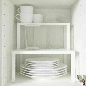 2 x IKEA Variera White Shelf Insert 32x13x16cm Kitchen Cupboard Stackable Plates