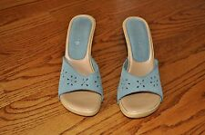 Womens GUESS Blue Leather Shoes Heels Open Toe Size 6 M NICE! MADE IN ITALY!