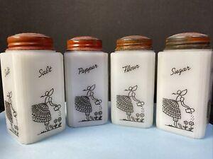 Vintage Glass Container's. Salt, Pepper, Flour & Salt White glass garden Set G6