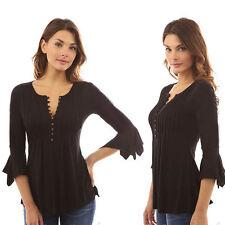 Women Slim Plus Size Blouse Shirt Ladies 3/4 Sleeve V Neck Button Tops Tee S-5XL