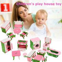 Miniature Dollhouse Pretend Play Building Blocks Set Furniture Accessories  -