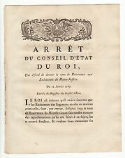 1787 jan.12, Original French act that forbids calling the Executioners Bourreaux