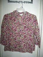 CJ Banks White Pink Burgundy Green Floral Button Front Long Sleeve Top Shirt 1X