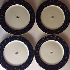 "4 Galaxy Fine Porcelain by Sakura, 8 1/4"" Salad Plates, 14 K Gold Accents"
