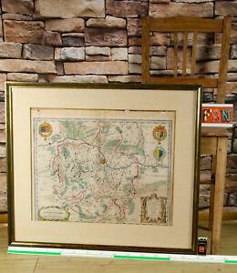 Kupferstich antik Territorium Metense Metz Landkarte Le Pais Messin Blaeu