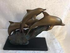 Brass Dolphin Statue Sculpture 4 Swimming Dolphins
