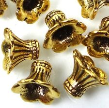 20 Antique Golden Pewter Petal Bell Flowers Caps Beads ~ Lead-Free ~  8x10mm