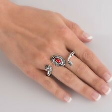 CAROLYN POLLACK Sterling Silver RED CORAL Two Finger CONCHA Ring 7 American WEST
