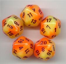 NEW RPG Dice Set of 5 D20 - Chessex Gemini Orange-Yellow