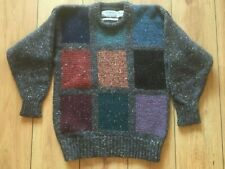 Mans Wool Pullover 40 Aran M Grey Tweed Cable Pullover Sweater Patchwork Paddys