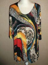 VALENTINA Cheetah Print Blouse SHIRT WOMENS L STRETCH Long Studs Gorgeous