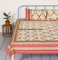 Indian Cotton Bedding Mattress Protector Cotton Bed Fitted Sheet Set Queen Size