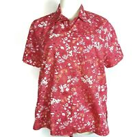 Karen Scott Womens Camp Shirt Sz PL Short Sleeve Cotton Pink Floral Button Front