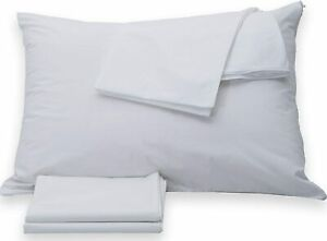 Pack of 4 Queen Size Pillow Protector Cover Case Whtie Zippered Cotton Polyester