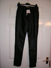 WOMENS LEGGINGS  SIZE 8 BLACK FAUX LEATHER FABRIC INSERTS NEW + TAGS