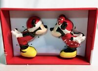 NEW Disney Mickey & Minnie Kissing Christmas Ceramic Salt & Pepper Shakers Set