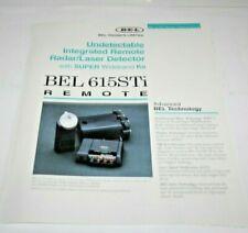 Bel 615Sti Remote Radar/Laser Detector - Info. & Specs. Only