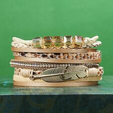 Women Leather Bracelet Cuff Bangle Wristband Multi Layer Wrap Magnetic Clasp